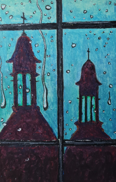 """Painting titled """"Steeples"""" by Barry King (CurvilinearArt), Original Art, Pastel"""