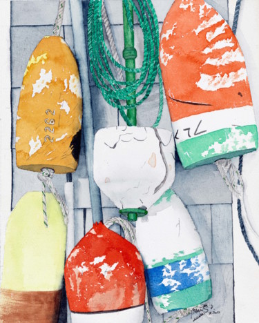 """Painting titled """"Lobster Buoys"""" by Benoit Donne, Original Art, Watercolor"""