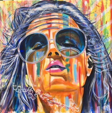 """Painting titled """"POP GIRL """"SUNNY"""" 2"""" by Bruno Degrenne, Original Art, Acrylic Mounted on Stretcher frame"""