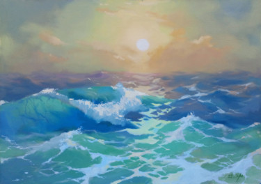 Seascape Painting, oil, impressionism, artwork by Denis Bely
