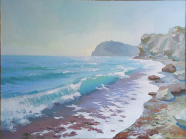 Beach Painting, oil, impressionism, artwork by Denis Bely