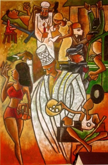Painting, oil, expressionism, artwork by Benedict Edet