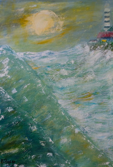 Seascape Painting, oil, expressionism, artwork by Bernard Pineau