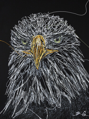 """Painting titled """"Bald eagle"""" by Bernard Ouellette, Original Art, Acrylic Mounted on Wood Panel"""