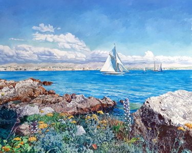 """Painting titled """"""""le cap d'Antibes"""""""" by Berthoumieux, Original Art, Acrylic"""