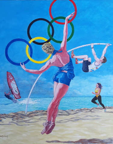 """Painting titled """"""""sport passion"""""""" by Berthoumieux, Original Art, Oil"""