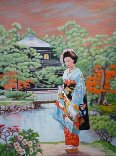 """Painting titled """"geisha"""" by Berthoumieux, Original Art, Oil"""