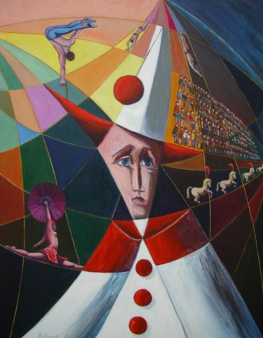 """Painting titled """"le cirque"""" by Berthoumieux, Original Art, Oil"""