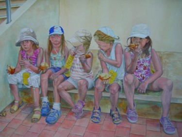"""Painting titled """"le goûter"""" by Berthoumieux, Original Art, Oil"""