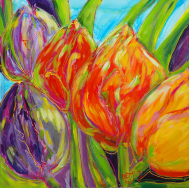 """Painting titled """"Red and Purple"""" by Betty Jonker, Original Art, Acrylic"""