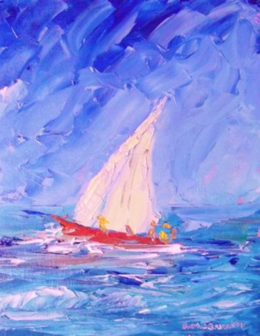 """Painting titled """"Yachting Blues"""" by Bill O'Brien, Original Art, Oil"""