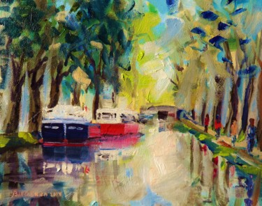 """Painting titled """"Grand Canal Barges…"""" by Bill O'Brien, Original Art, Oil"""