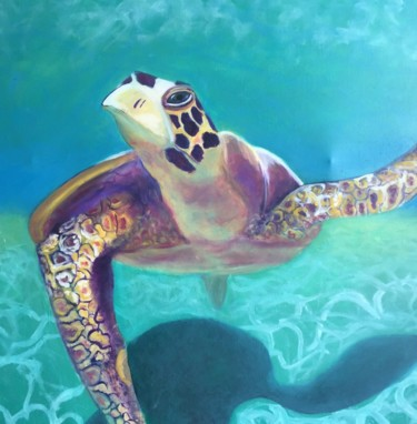 """Painting titled """"peinture tortue"""" by Diane Blanch, Original Art, Oil"""