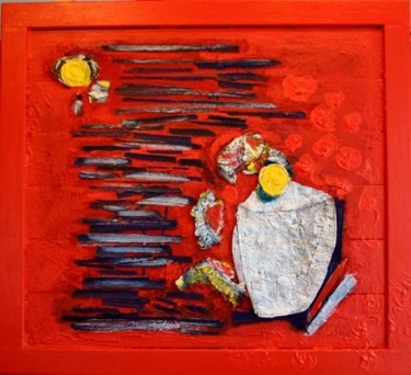 """Painting titled """"red interior with a…"""" by Blandine Martin, Original Art,"""