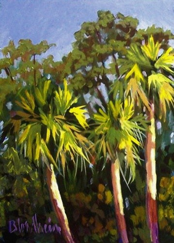 """Painting titled """"Afternoon Palms"""" by Linda Blondheim, Original Art, Oil"""