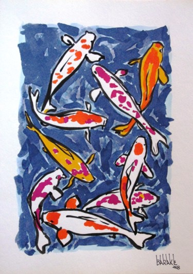 Fish Painting, watercolor, impressionism, artwork by Barake Sculptor