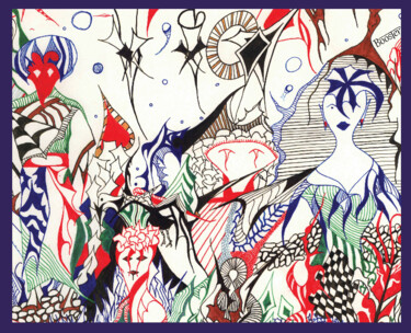 """Drawing titled """"Rêve d'ailleurs 1"""" by Booster, Original Art, Ink Mounted on Stretcher frame"""