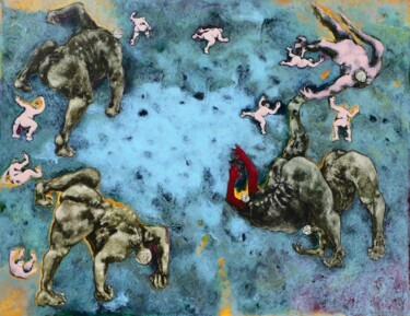 """Painting titled """"Homogène 220"""" by Jean Francois Bottollier, Original Art, Acrylic Mounted on Wood Panel"""