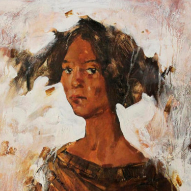 """Painting titled """"chocolate girl"""" by Maks Bratko, Original Art, Oil Mounted on Stretcher frame"""