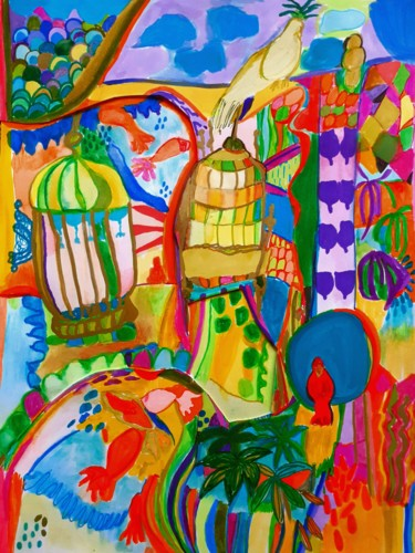 Color Drawing, collages, abstract, artwork by Brigite Oury