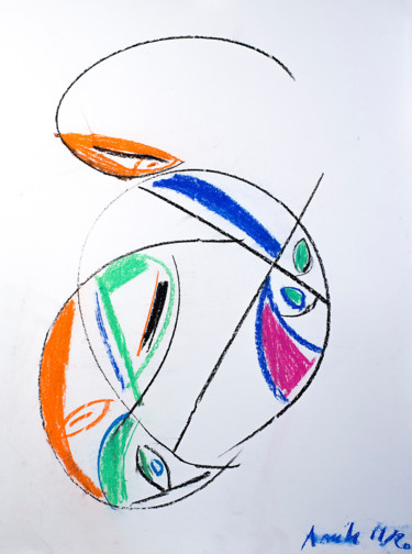 Color Drawing, pastel, abstract, artwork by Anih