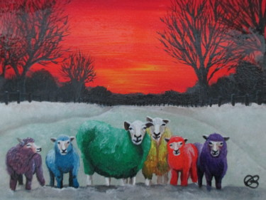 """Painting titled """"The Flock"""" by Ann Biddlecombe, Original Art, Acrylic"""