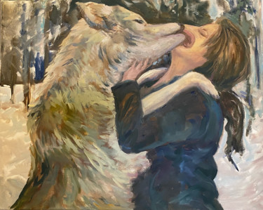 Dog Painting, oil, impressionism, artwork by B.Rossitto
