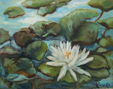 """Painting titled """"white waterlily"""" by B.Rossitto, Original Art, Oil"""