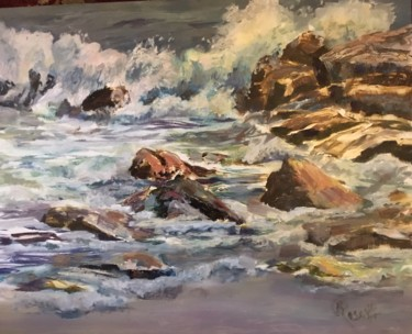 Seascape Painting, oil, impressionism, artwork by B.Rossitto