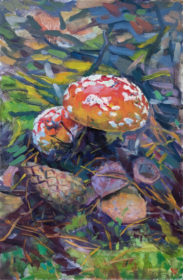 """Painting titled """"Fly agarics Painting"""" by Aleksey Burov, Original Art, Oil"""
