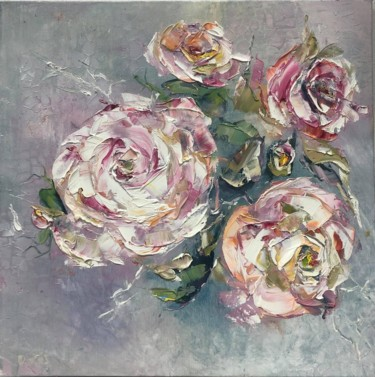 """Painting titled """"4 Roses"""" by Olha Stasiuk, Original Art, Oil"""