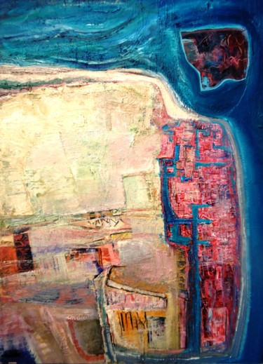 """Painting titled """"Coastal town / Vill…"""" by Christopher Foster, Original Art, Oil"""