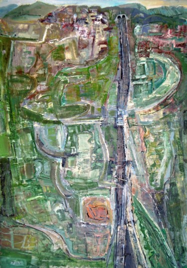 """Painting titled """"Railway line / Lign…"""" by Christopher Foster, Original Art, Oil"""