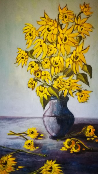 """Painting titled """"Girasoles"""" by África Gil, Original Art, Oil"""