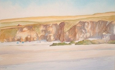 """Painting titled """"Gwithian cliffs"""" by Carl Conway, Original Art,"""