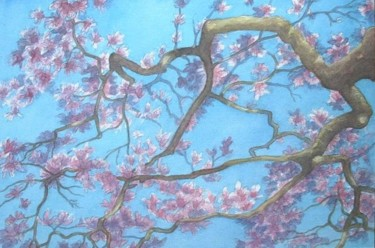 """Painting titled """"Magnolia in Richmond"""" by Carl Conway, Original Art, Oil"""