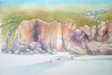 """Painting titled """"Porthcurno cliffs"""" by Carl Conway, Original Art,"""