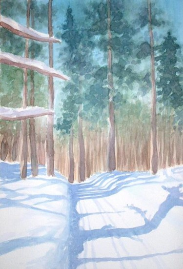 """Painting titled """"Snowy track in Cana…"""" by Carl Conway, Original Art, Oil"""