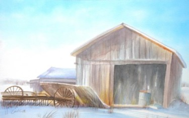 """Painting titled """"Canadian barn"""" by Carl Conway, Original Art,"""