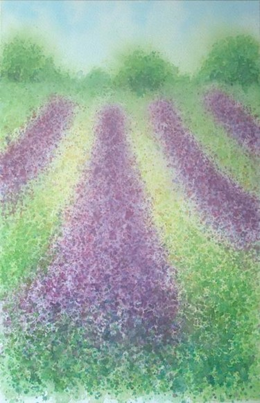 """Painting titled """"Rows of lavender"""" by Carl Conway, Original Art, Oil"""
