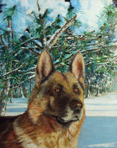 Dog Painting, oil, figurative, artwork by Carlo R. Pisano