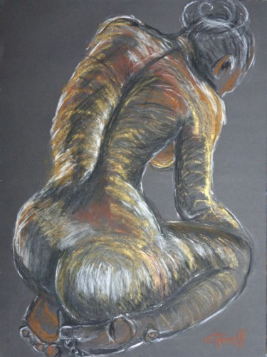 """Drawing titled """"Colourful Nude"""" by Carmen Tyrrell, Original Art, Pastel"""
