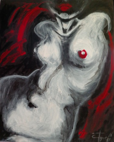 """Painting titled """"Nude Torso And Red…"""" by Carmen Tyrrell, Original Art, Acrylic Mounted on Stretcher frame"""