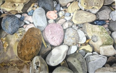 """Drawing titled """"Pebbles on the Shore"""" by Carole Mcalpine, Original Art, Pencil"""