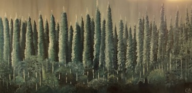 """Painting titled """"Pine Forest"""" by Catarina Brito, Original Art, Acrylic Mounted on Stretcher frame"""