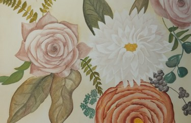 """Painting titled """"Autumn Flowers"""" by Catarina Brito, Original Art, Watercolor"""