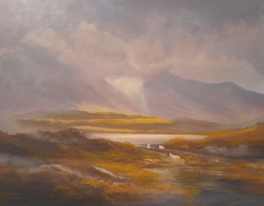 Countryside Painting, acrylic, land art, artwork by Cathal O Malley