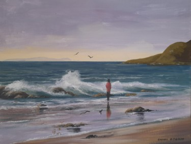 Beach Painting, acrylic, hyperrealism, artwork by Cathal O Malley