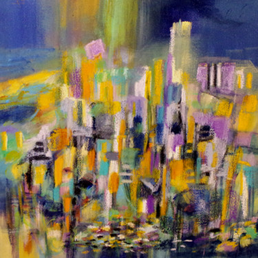 """Painting titled """"Skyline in purple f…"""" by Muriel Cayet, Original Art, Acrylic"""