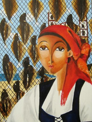 Painting, oil, naive art, artwork by Cristiane Campos